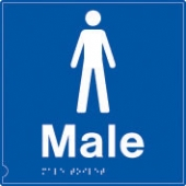 male symbol - (white & blue)