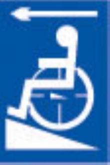 disabled ramp - arrow left (white & blue)