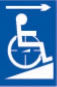 disabled ramp - arrow right (white & blue)