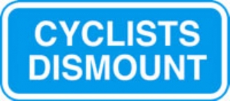 cyclists dismount no channel