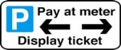 pay at meter display ticket arrow both left & right