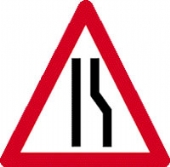 road narrows right c/w channel