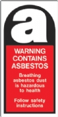 warning contains asbestos Label