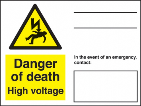 danger of death - in the event of an emerg contact..