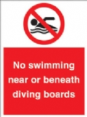no swimming near or beneath diving boards