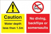 caution water depth.... no diving....