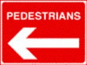 pedestrians left   white on red