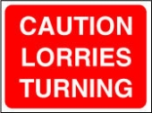 caution lorries turning