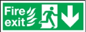 fire exit/running man arrow down