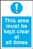 this area must be kept clear all times
