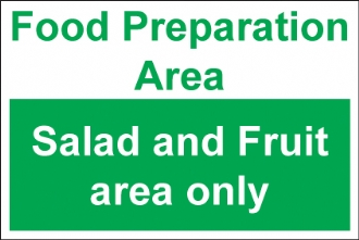 food preparation area salad and fruit