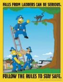 Simpsons falls from ladders