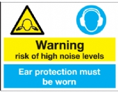 risk of high noise levels ear protection be worn