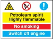 petroleum sprit no smoking switch off/