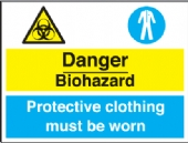 danger biohazard - prot. clothing must be worn