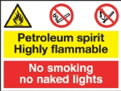petroleum spirit/no smoking naked light