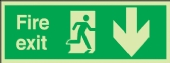 fire exit running man rignt arrow down