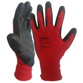 Supreme Red PU Grip Work Gloves 100RB with PU Coating