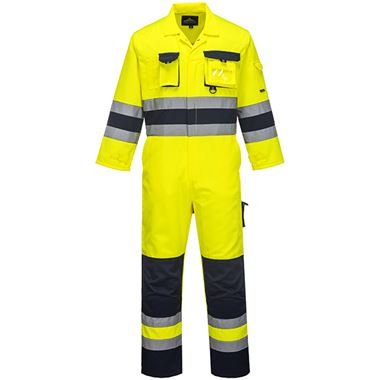 Texo High Visibility Poly-Cotton Coverall Yellow/Navy