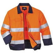 High Visibility Poly-Cotton Two Tone Jacket Orange/Navy