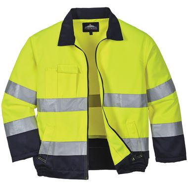 High Visibility Poly-Cotton Two Tone Jacket Yellow/Navy