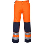 High Visibility Poly-Cotton Two Tone Trousers Orange/Navy