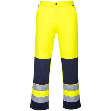 High Visibility Poly-Cotton Two Tone Trousers Yellow/Navy