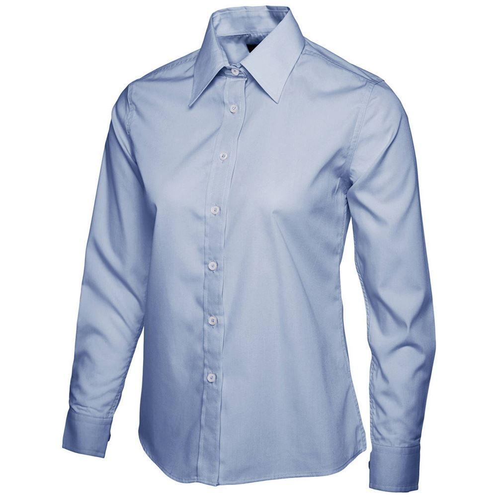 Uneek uc711 ladies long sleeve poplin shirt safetec for Long sleeve poplin shirt